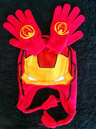 Wholesale New Arrivals Ironman Style boy Hat Gloves Set Christmas Winter Children s Mittens
