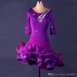 A23 New Adult Latin Dance Dress Salsa Tang Cha cha Ballroom Competition Group Dance Dress 2Color S-XXL Customizable