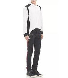 Wholesale Balmain type jeans new mens black biker jeans slim skinny straight full length motor biker jeans
