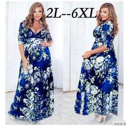 Wholesale European trade big yards long skirt printed v neck wrapped with big brother xl hot style dress