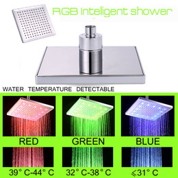 Wholesale smart hydropower RGB LED light for bathroom romantic square shape shower LED RGB changing color according to water temperature