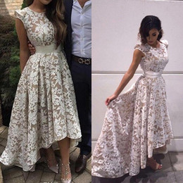 2019 New Elegant Cap Sleeves High low Evening Dresses White Champagne Lining Lace Appliques Formal Party Prom Gowns Custom Real Images