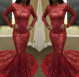 Red Sequined Mermaid Prom Dress Sexy High Neck Long Sleeve Arab Muslim Robe De Soiree Formal Evening Gowns Vestido De Festa