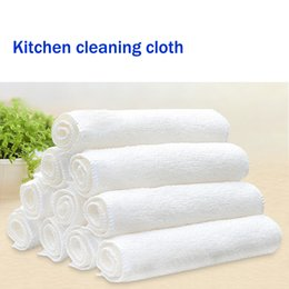 White ColorBamboo microfiber cloth E-co friendly kitchen cleaning items washing clothes home cleaning towel with 2 layers
