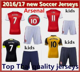Wholesale best Thai Quality kids Arsenal Soccer Jerseys kits OZIL WILSHERE RAMSEY ALEXIS kids jerseys Home Away rd football shirts
