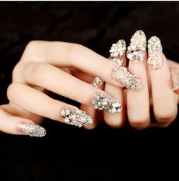 Glittering 3d false eyelashes bride nails BEAUTIFUL Pre Design fake nail tips charming decoration diamond nails full cover finger nails HOT