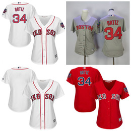 Wholesale 2017 Women s Boston Red Sox David Ortiz Authentic Majestic White Red Grey Home Cool Base Jersey with Retirement Patch Top Quality