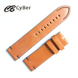 Cbcyber 24mm Genuine Leather bordure Watch Band Strap for Watch With steel Buckles, men's watchbands for luxury watch cb2017