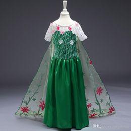 Promotion anna manteau gelé Robe de soirée Frozen Frozen Robe de fille Elsa Anna Princess Robes de soirée Filet de dentelle Robe de danse fleur verte Frozen Costume de cosplay de dessin animé F440