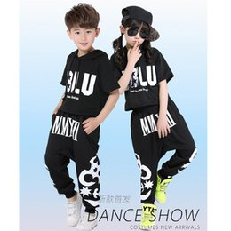 Black Kids Jazz Hip Hop Dance costumes children's clothing set Costumes black white Star jazz Hip Hop dance Pants & T-shirt kids Adult suits