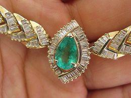Wholesale Collar verde oliva colombiano verde KT del oro amarillo del diamante Ct