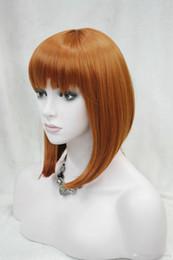 2017 new fashion health Super Cute fashion cute BOB orange brown short straight women's full wig