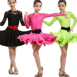Girls Long sleeve standard ballroom dress Children's Latin Dancing cotumes Kids Stage Party Performance competition Dancewear Salsa dress