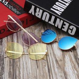 Compra Online Lente de espejo-Gafas de sol de gato de moda espejo de lentes planas mujeres gafas de sol de diseñador