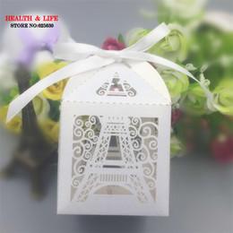 2017 torre eiffel al por mayor del partido Caja de papel del caramelo de la boda de la torre Eiffel de París de la Navidad de Wholesale-50pcs, fuentes del partido que casan favores y regalos, caja de regalo del favor de la ducha de bebé torre eiffel al por mayor del partido promoción
