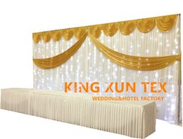 Nice Looking Ice Silk Wedding Backdrop Curtain Stage Background With Led Light And The Pipe Stand