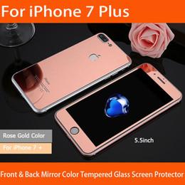 Écrans pourpres en Ligne-Avant et arrière iphone 7 plus coloré miroir couleur verre trempé écran protecteur or / rose or / noir / argent / violet / couleur bleue