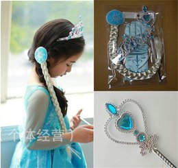 Wholesale 2017 New Hot set Frozen Tiara Magic Wig Wand Hair Frozen Cosplay Gloves Kid Party Birthday Girls Princess Halloween Accessories Gift