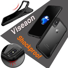 viseaon Case Shockproof Dirt-resistant Anti-fall Protective Soft TPU Clear Silicone Hard Black Cover For iPhone X 8 7 Plus Samsung Note S8