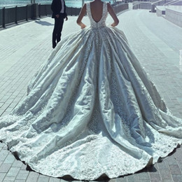 Luxury Dubai Pearls Wedding Gown With 3D Floral Applique Sweetheart Open Backless Wedding Dresses 2017 Gorgeous A-Line Bridal Wedding Dress