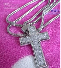 Shining diamond pieces in fashion cross necklace pendant free shipping