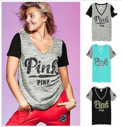 Descuento de manga corta cuello en v Las mujeres de color rosa camiseta VS Impresión de manga corta de color rosa Carta Tops V cuello verano tanques sueltos Slim blusa OOA1411