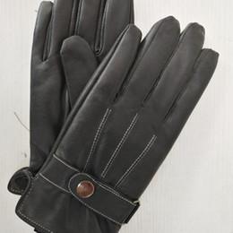 2017 new luxury men's gloves pure goat leather waterproof side open gloves
