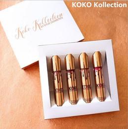 Wholesale Kelly jenner lip gloss toolkit cocoa Kollection set family collaboration kollaboration gold metallic matte lipstick gold gift box