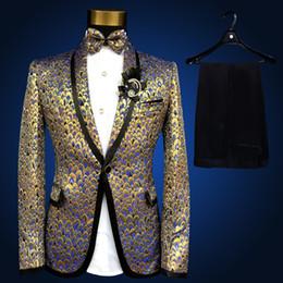 Trajes de la astilla en venta-2016 Nuevos tamaños más delgados cupieron la chaqueta Jacket + Pants de los hombres del oro de la astilla de la manera Forme a corredor del funcionamiento del coro de la etapa del funcionamiento del MC del cantante Los juegos del hombre