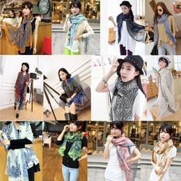 Fashion New 170 * 80cm Autumn vintage silk scarves women casual gorgeous print scarf shawl wrap 20 Colors Free shipping