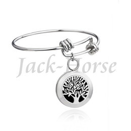 Wholesale Newest tree life and OM bangles bracelets stainless steel diffuser bracelet locket mm with free pads