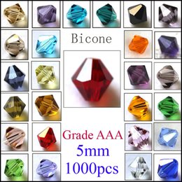 AAA Grade 1000pcs 5mm Mixed color 5301 Bicone Faceted Crystal Loose Beads For jewelry Craft Diy