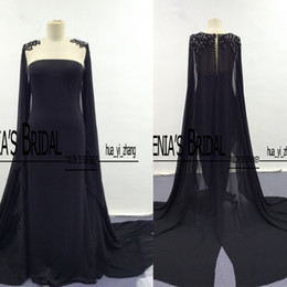 2017 Prom Dresses Black Color Cape Real Images Pearls Crystals Beaded Cape with Sheer Back Evening Dresses