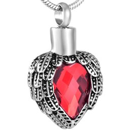 IJD8719 Angel Wing Red Birthstone Memorial Urn Necklace 316L Stainless Steel Waterproof Cremation Jewelry For Ashes