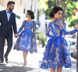 Royal Blue Short Homecoming Dresses Long Sleeves Lace A Line Cocktail Party Gowns Illusion Back Knee Length Prom Dresses BO9853