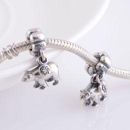 Wholesale Genuine S925 Sterling Silver Beads Polar Bear Dangle Charm For European Brand Bracelets ALE