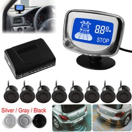 Wholesale SALE Weatherproof Rear Front View Car Parking Sensors Reverse Backup Radar Kit System with LCD Display Monitor CAL_215
