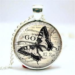 10pcs lot Butterfly Ephemera Sketch Drawing Vintage Glass Necklace