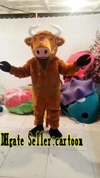 Real Pictures Deluxe Brown bull Mascot Costume Adult size ,free shipping