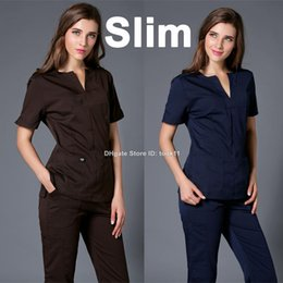 Wholesale medical uniforms hospital women gown medical clothing nursing scrubs clothes dental clinicos beauty salon nurse slim surgical suit