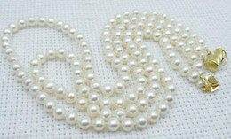 NOBLEST DOUBLE STRANDS 9-10MM SOUTH SEA NATURAL WHITE PEARL NECKLACE 14k GOLD CLASP 17-18 INCH