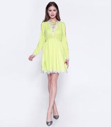 Shenbolen Womens Fashion V Neck Exquisite Hook Flower Lace Elastic Waist Hollow Stitching Slim Cocotail Party Dress