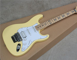 Electric Guitar with Cream Yellow Body and the White Pickgaurd and Floyd Rose and Can be Customized