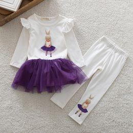 3D cartoon animal Girl 2pc Set Girls White Long Sleeved T shirt Pink Plain Tutu Ruffed Skirt leggings Suits Sets