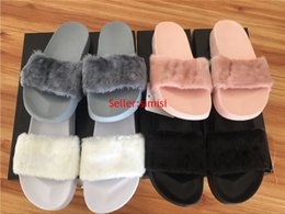 Wholesale Come With Original Box Dust Bag Leadcat Fenty Rihanna Shoes Women Slippers Indoor Sandals Girls Fashion Scuffs Pink Black White Grey Slide