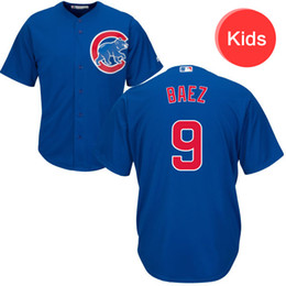 2016 Majestic Youth  Kid's Chicago Cubs #9 Javier Baez Royal Home Baseball Jersey blue white free shipping