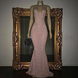Pink Long Prom Dresses 2019 Mermaid For Black Girls Sequined Beaded Vestidos De Noche Zipper-Up Evening Dresses custom Made