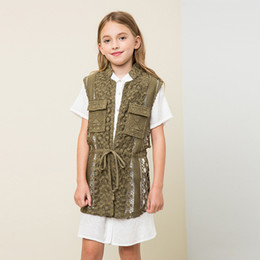 Wholesale Cute Style Babys Girls - England Girls Lace Floral Vest Cute Lace Up Coats Kids Hollow Out Lace Vest Outerwear Free Shipping For 7-14 Year Babys