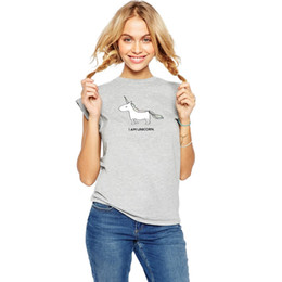 Wholesale American Apparel Women Loose Short Sleeve Top Casual Unicorn Printed Shirt Fashion Summer T shirt