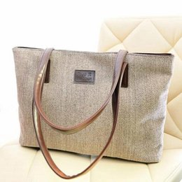2017 toile grand sac à main 2017 Femmes sac à main avec grande capacité simple sac à bandoulière occasionnels couleur pure toile Zipper toile grand sac à main ventes